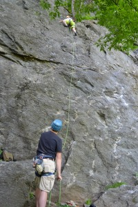 Rob belaying Mikey on Easily Amused, 5.6