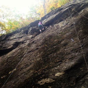 Me at the very top of 'False Modesty'. Finally got my first outdoor lead climb in!