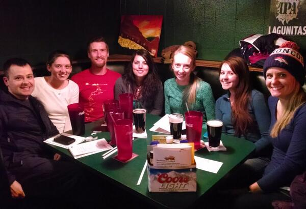 The whole group at Cherry Cricket! Left to right: Rob, Jillian, David, Shay, Heidi, Aleya, and Lynne!