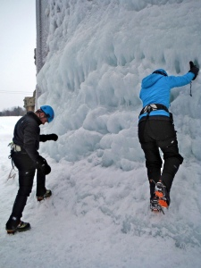 Rob and I figuring it all out on the Northern Lights practice wall.