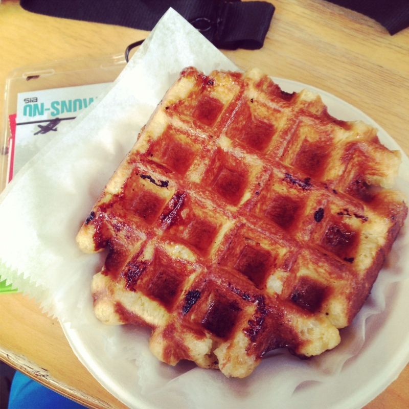 A Belgian Bean waffle. The only thing better than snowboarding and bacon.