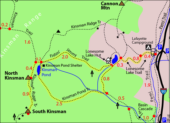 Borrowed from 4000footers.com. This map shows the route for both N. Kinsman and S. Kinsman. On a nice day, would be awesome to do both!