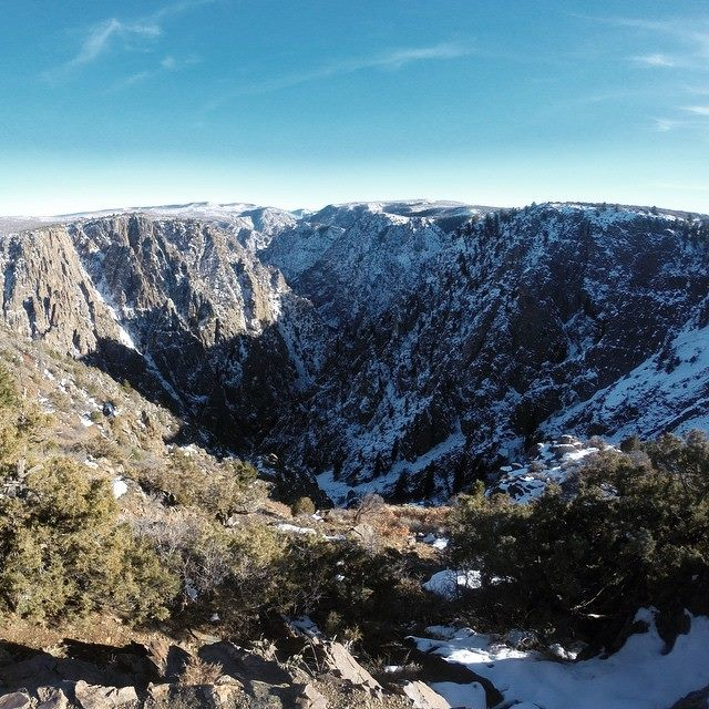 We made a super quick detour to Black Canyon NP. That is a 16 pitch trad climb right there!